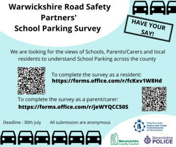 Banner with QR codes to road safety surveys