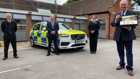 Chief Fire Officer Ben Brooks, Councillor Martin Watson, Warwickshire Police Chief Constable Debbie Tedds, and Police and Crime Commissioner Philip Seccombe